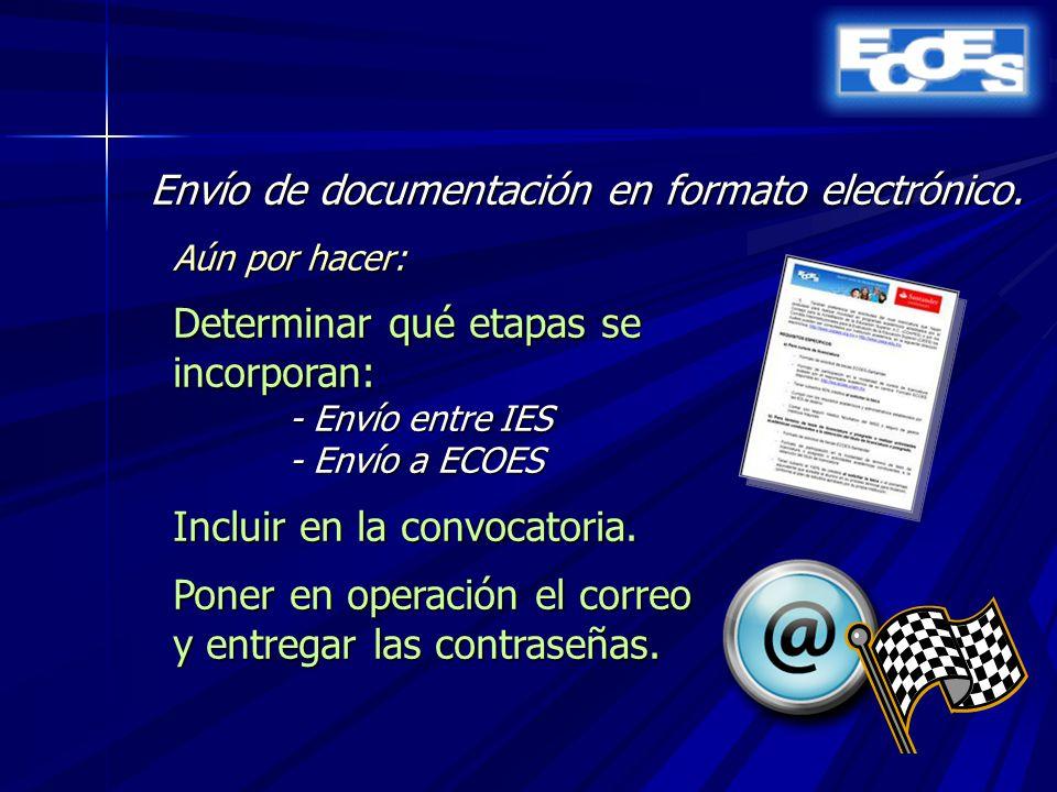 Envío de documentación en formato electrónico.