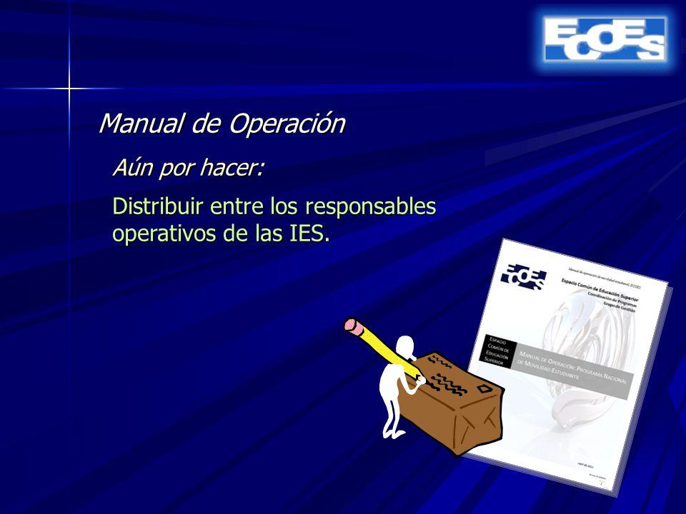 Manual de Operación Aún por hacer: Distribuir entre los responsables operativos de las IES.