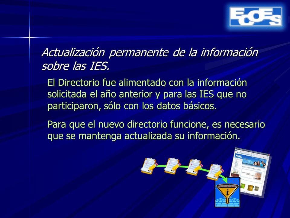 Actualización permanente de la información sobre las IES.