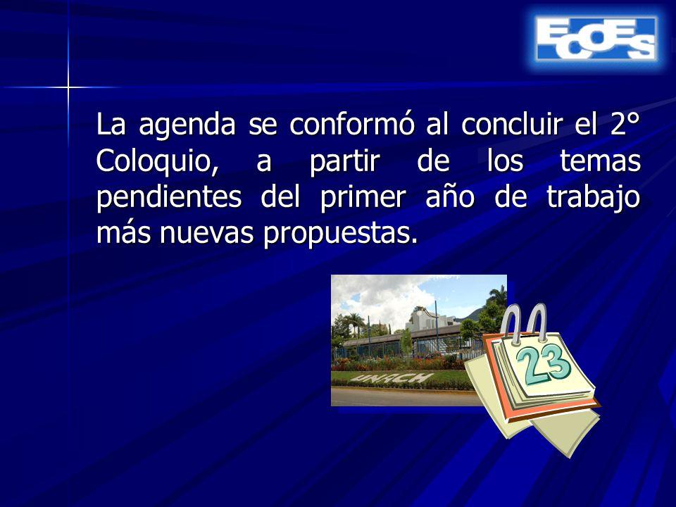 La agenda se conformó al concluir el 2° Coloquio, a partir de los temas pendientes del primer año de trabajo más nuevas propuestas.