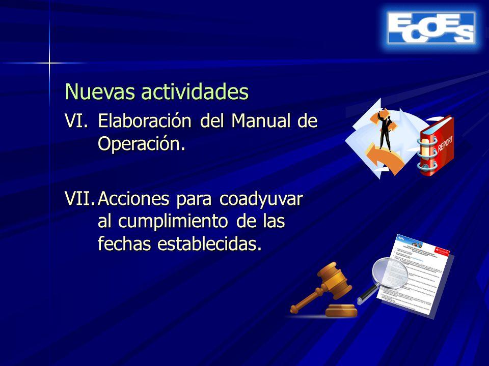 Nuevas actividades VI.Elaboración del Manual de Operación.