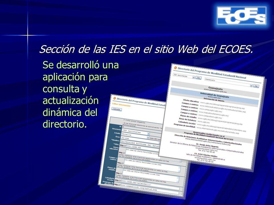 Sección de las IES en el sitio Web del ECOES.
