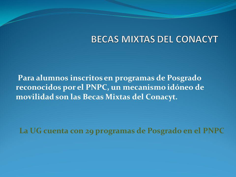 Para alumnos inscritos en programas de Posgrado reconocidos por el PNPC, un mecanismo idóneo de movilidad son las Becas Mixtas del Conacyt.