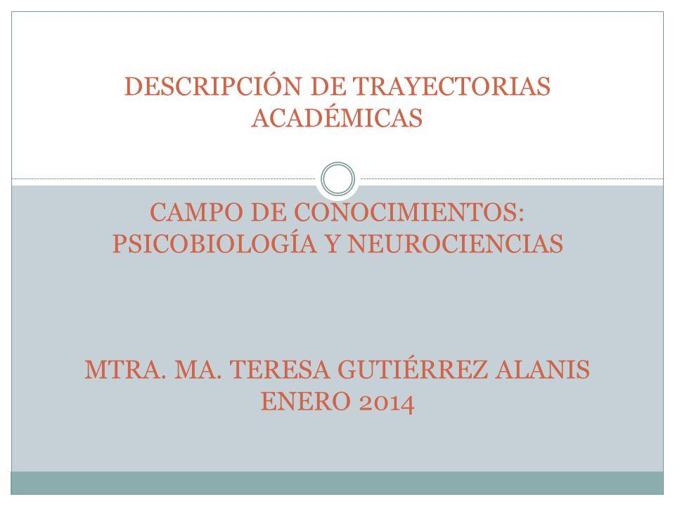 DESCRIPCIÓN DE TRAYECTORIAS ACADÉMICAS CAMPO DE CONOCIMIENTOS: PSICOBIOLOGÍA Y NEUROCIENCIAS MTRA.