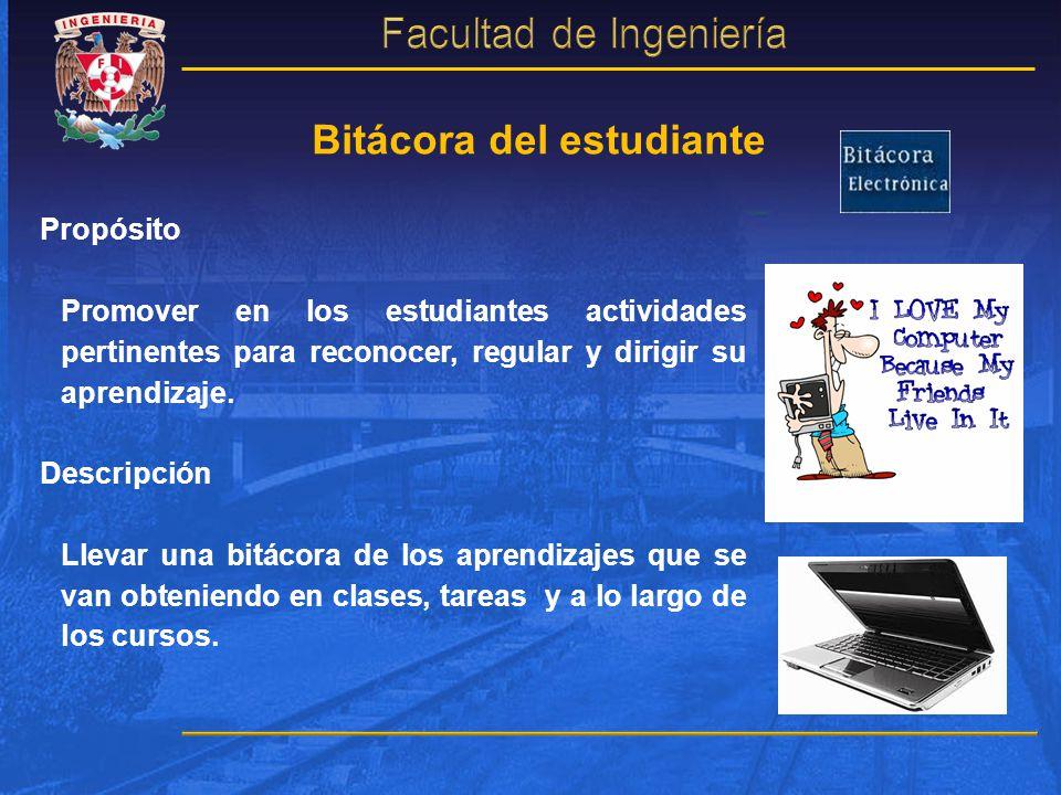 Bitácora del estudiante Propósito Promover en los estudiantes actividades pertinentes para reconocer, regular y dirigir su aprendizaje. Descripción Ll