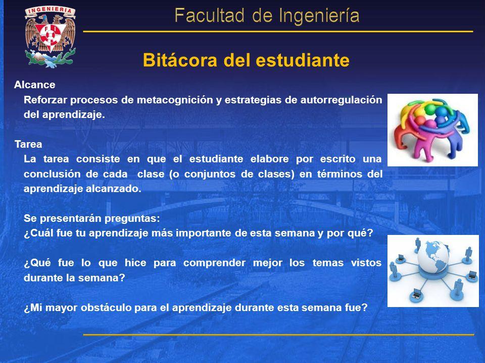 Bitácora del estudiante Alcance Reforzar procesos de metacognición y estrategias de autorregulación del aprendizaje. Tarea La tarea consiste en que el