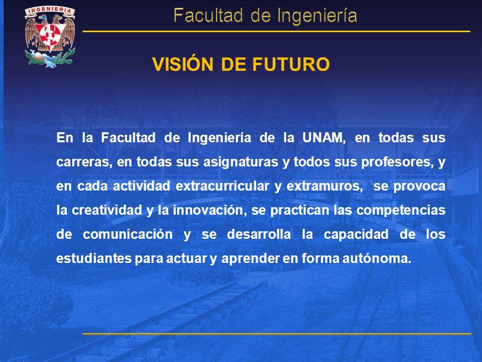 VISIÓN DE FUTURO En la Facultad de Ingeniería de la UNAM, en todas sus carreras, en todas sus asignaturas y todos sus profesores, y en cada actividad