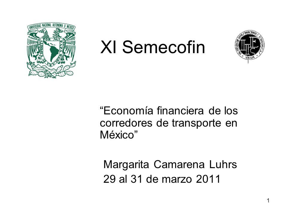 1 XI Semecofin Economía financiera de los corredores de transporte en México Margarita Camarena Luhrs 29 al 31 de marzo 2011