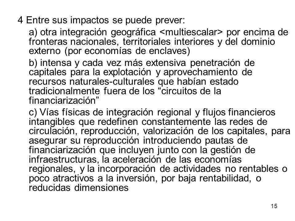 15 4 Entre sus impactos se puede prever: a) otra integración geográfica por encima de fronteras nacionales, territoriales interiores y del dominio ext