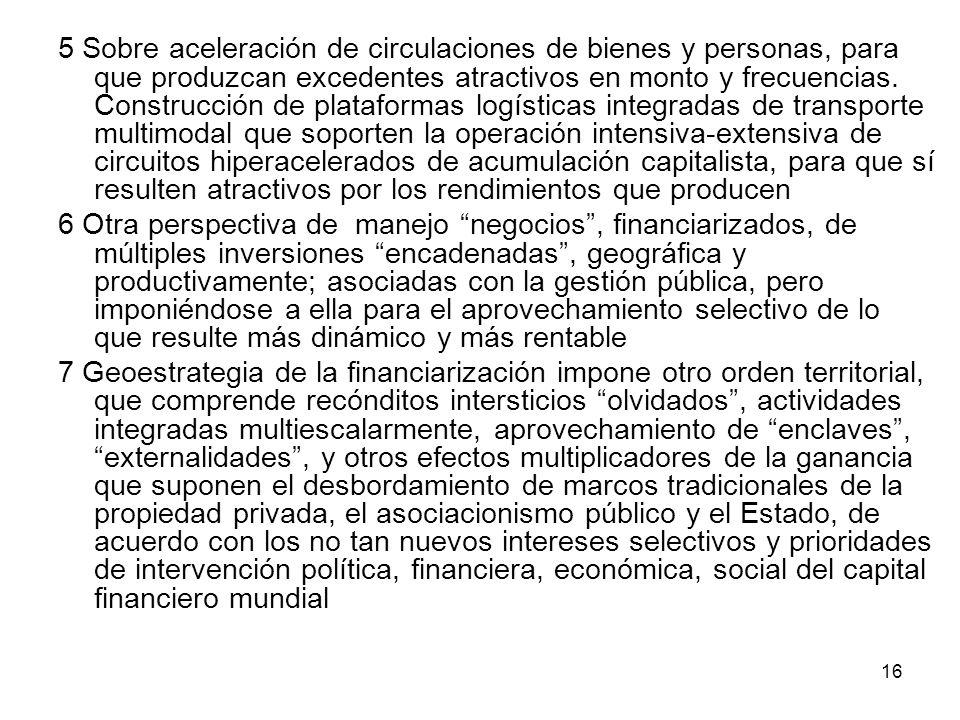 16 5 Sobre aceleración de circulaciones de bienes y personas, para que produzcan excedentes atractivos en monto y frecuencias. Construcción de platafo