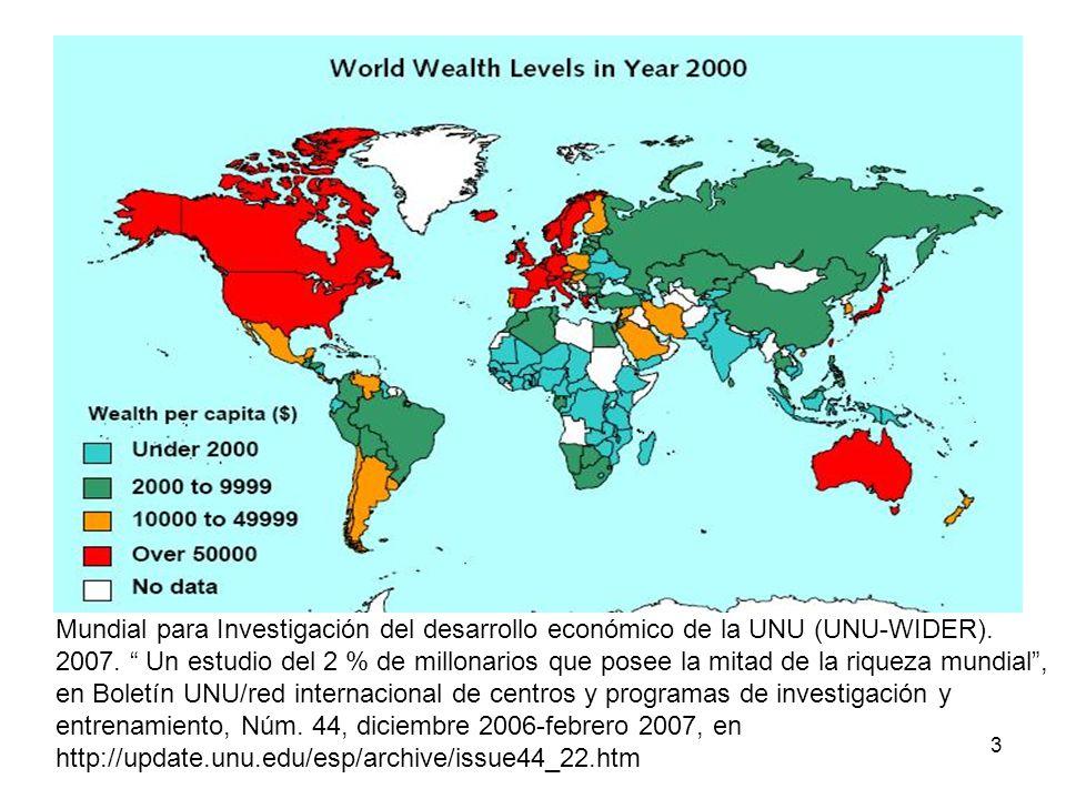 3 Mundial para Investigación del desarrollo económico de la UNU (UNU-WIDER). 2007. Un estudio del 2 % de millonarios que posee la mitad de la riqueza