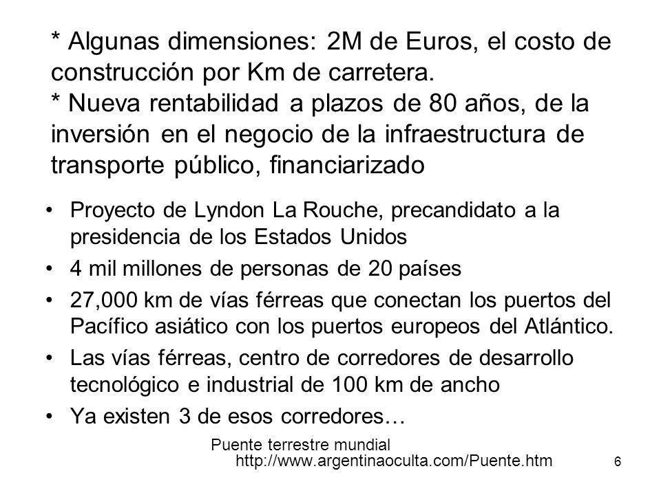 6 * Algunas dimensiones: 2M de Euros, el costo de construcción por Km de carretera. * Nueva rentabilidad a plazos de 80 años, de la inversión en el ne