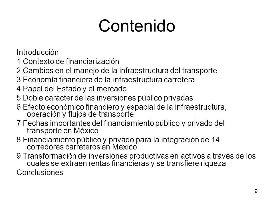 9 Contenido Introducción 1 Contexto de financiarización 2 Cambios en el manejo de la infraestructura del transporte 3 Economía financiera de la infrae