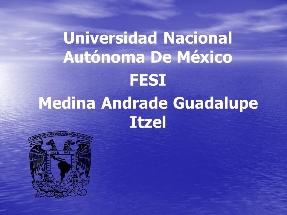 Universidad Nacional Autónoma De México FESI Medina Andrade Guadalupe Itzel