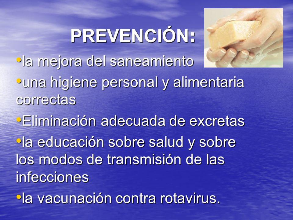 PREVENCIÓN : la mejora del saneamiento la mejora del saneamiento una higiene personal y alimentaria correctas una higiene personal y alimentaria correctas Eliminación adecuada de excretas Eliminación adecuada de excretas la educación sobre salud y sobre los modos de transmisión de las infecciones la educación sobre salud y sobre los modos de transmisión de las infecciones la vacunación contra rotavirus.
