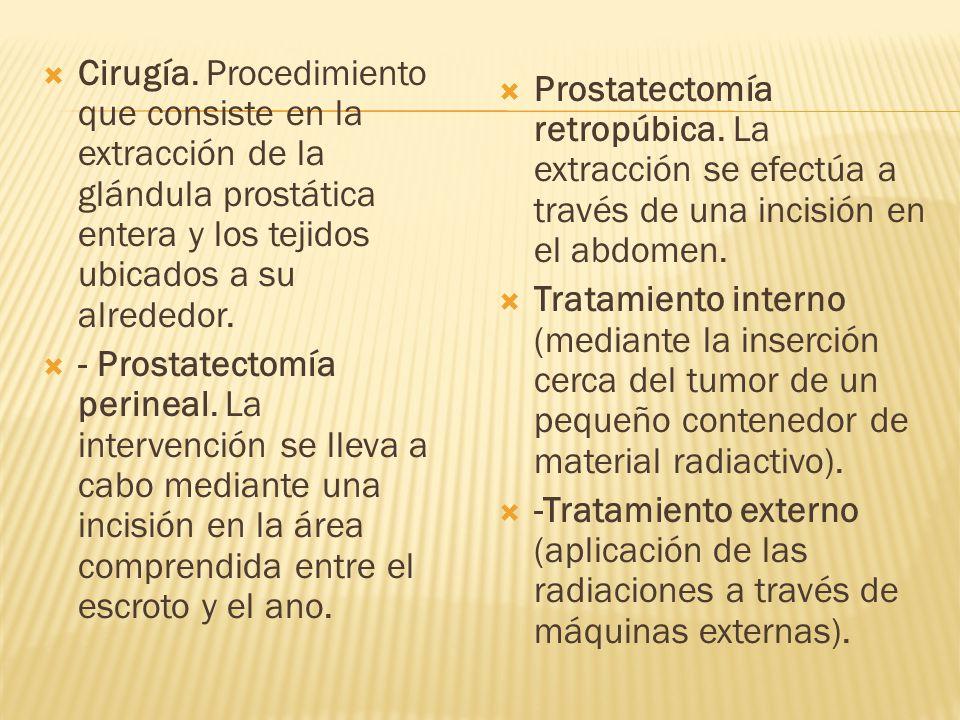 Cirugía. Procedimiento que consiste en la extracción de la glándula prostática entera y los tejidos ubicados a su alrededor. - Prostatectomía perineal