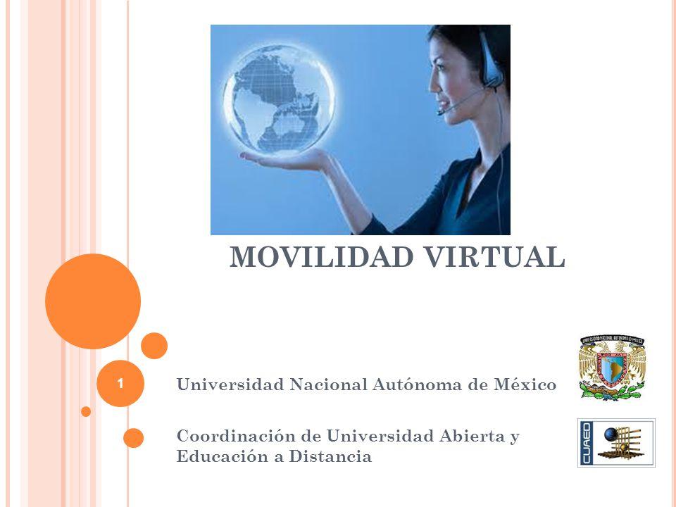 MOVILIDAD VIRTUAL Universidad Nacional Autónoma de México Coordinación de Universidad Abierta y Educación a Distancia 1