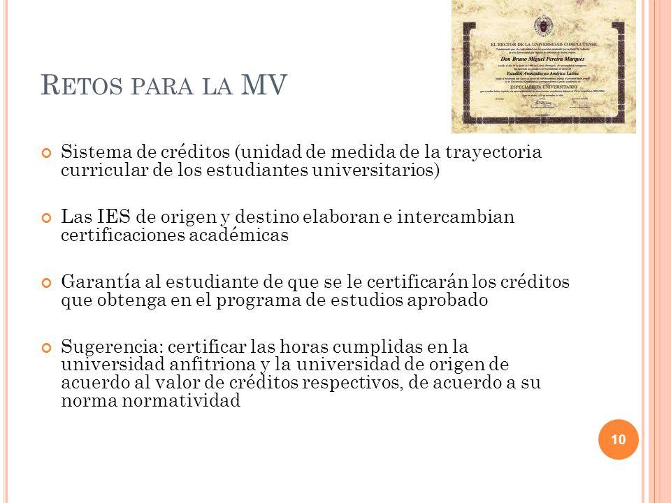 R ETOS PARA LA MV Sistema de créditos (unidad de medida de la trayectoria curricular de los estudiantes universitarios) Las IES de origen y destino el