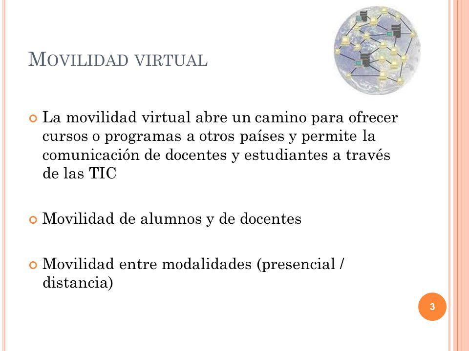 M OVILIDAD VIRTUAL La movilidad virtual abre un camino para ofrecer cursos o programas a otros países y permite la comunicación de docentes y estudian