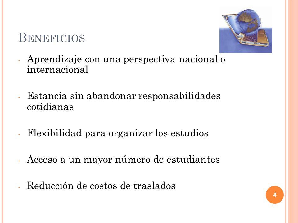 B ENEFICIOS - Aprendizaje con una perspectiva nacional o internacional - Estancia sin abandonar responsabilidades cotidianas - Flexibilidad para organ