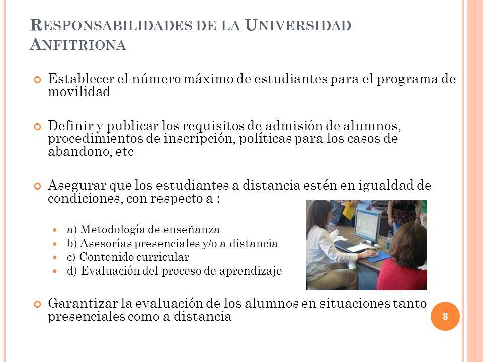 R ESPONSABILIDADES DE LA U NIVERSIDAD A NFITRIONA Establecer el número máximo de estudiantes para el programa de movilidad Definir y publicar los requ