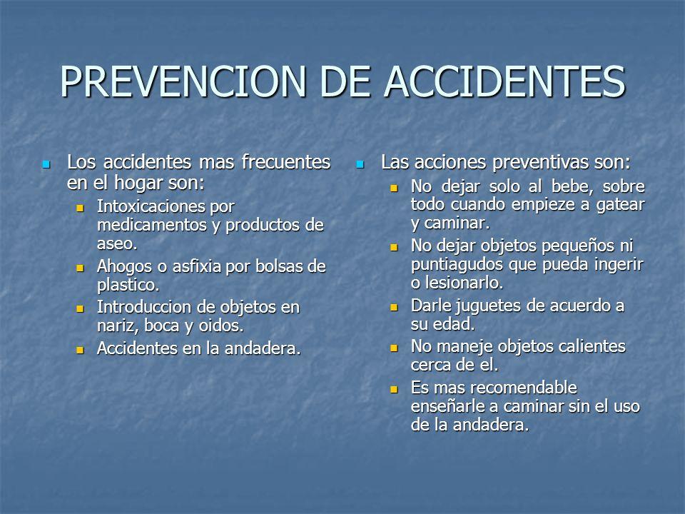 PREVENCION DE ACCIDENTES Los accidentes mas frecuentes en el hogar son: Los accidentes mas frecuentes en el hogar son: Intoxicaciones por medicamentos y productos de aseo.