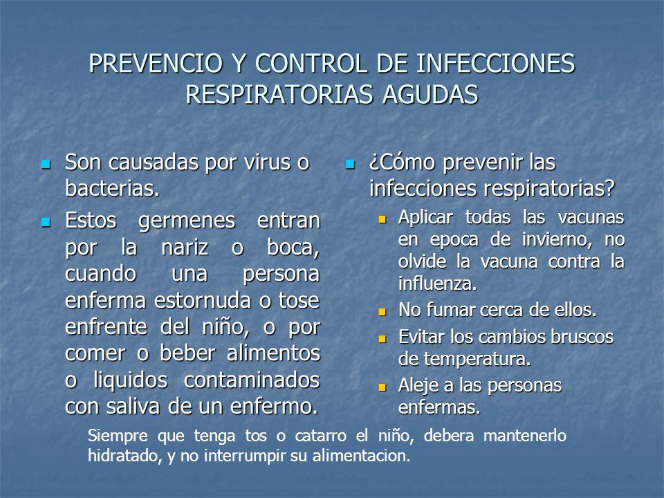 PREVENCIO Y CONTROL DE INFECCIONES RESPIRATORIAS AGUDAS Son causadas por virus o bacterias. Son causadas por virus o bacterias. Estos germenes entran