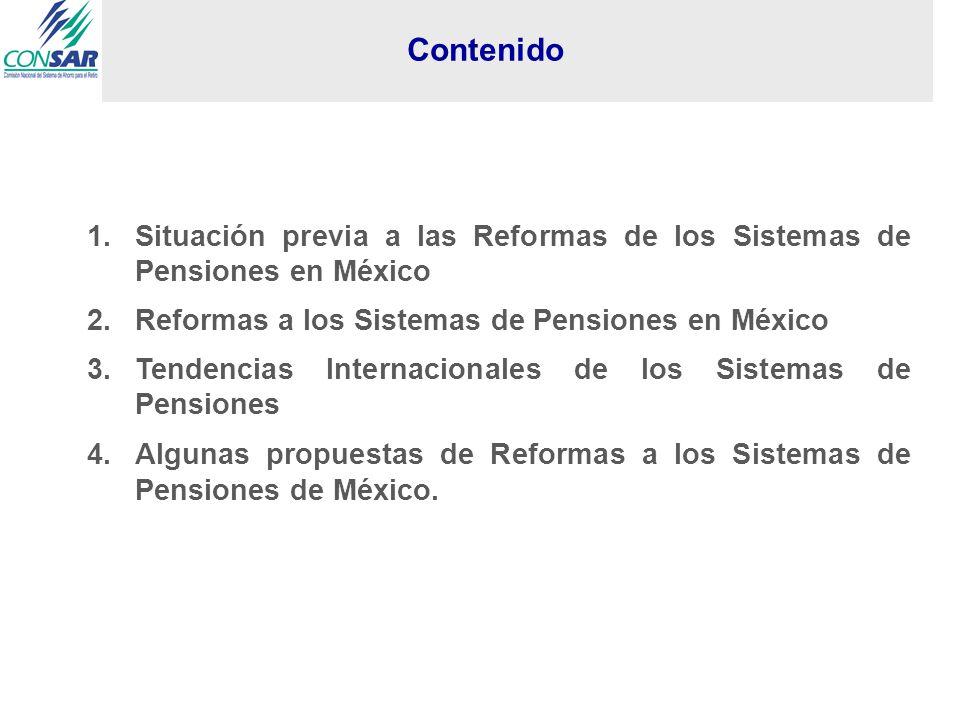 1.Situación previa a las Reformas de los Sistemas de Pensiones en México 2.Reformas a los Sistemas de Pensiones en México 3.Tendencias Internacionales de los Sistemas de Pensiones 4.Algunas propuestas de Reformas a los Sistemas de Pensiones de México.