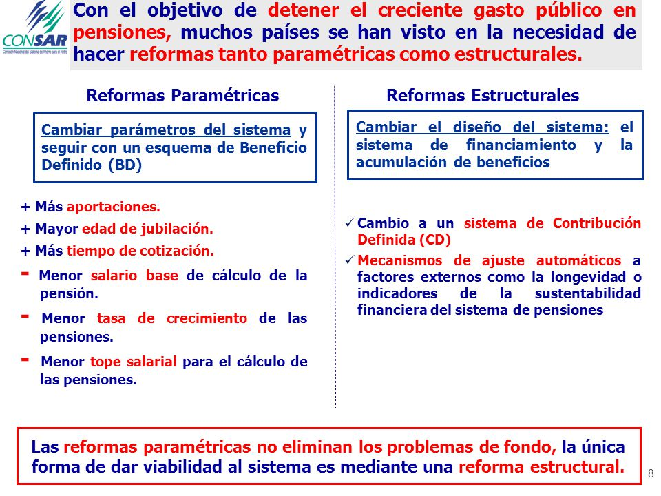 8 Con el objetivo de detener el creciente gasto público en pensiones, muchos países se han visto en la necesidad de hacer reformas tanto paramétricas como estructurales.