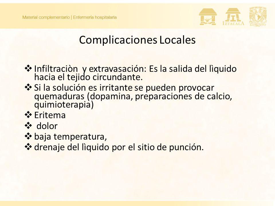Complicaciones Locales Infiltraciòn y extravasación: Es la salida del lìquido hacia el tejido circundante.