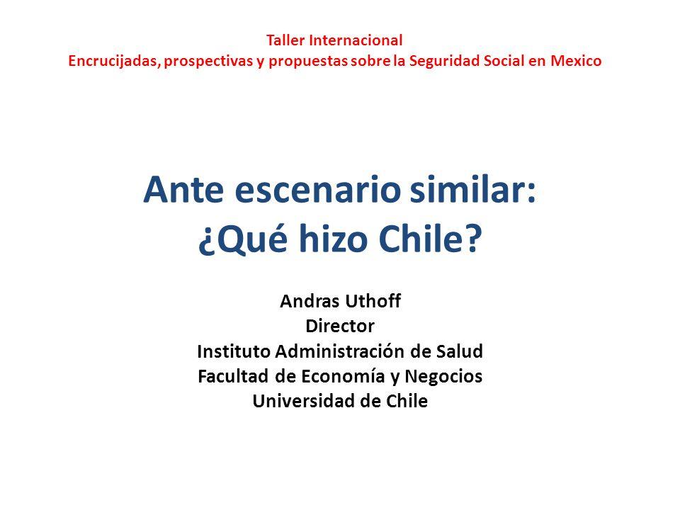 Ante escenario similar: ¿Qué hizo Chile? Andras Uthoff Director Instituto Administración de Salud Facultad de Economía y Negocios Universidad de Chile