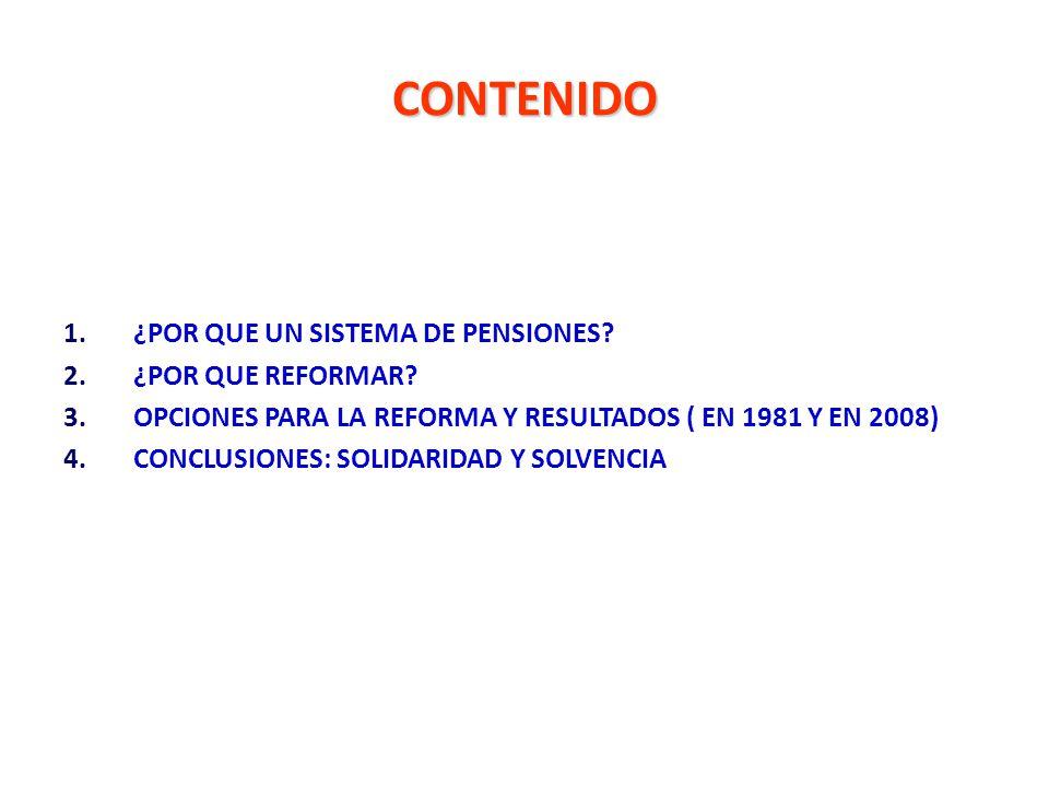 CONTENIDO 1.¿POR QUE UN SISTEMA DE PENSIONES? 2.¿POR QUE REFORMAR? 3.OPCIONES PARA LA REFORMA Y RESULTADOS ( EN 1981 Y EN 2008) 4.CONCLUSIONES: SOLIDA