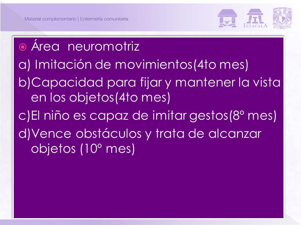 Área neuromotriz a) Imitación de movimientos(4to mes) b)Capacidad para fijar y mantener la vista en los objetos(4to mes) c)El niño es capaz de imitar