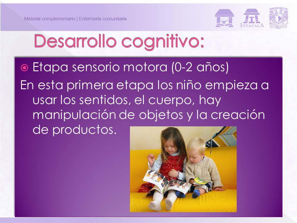 Etapa sensorio motora (0-2 años) En esta primera etapa los niño empieza a usar los sentidos, el cuerpo, hay manipulación de objetos y la creación de p