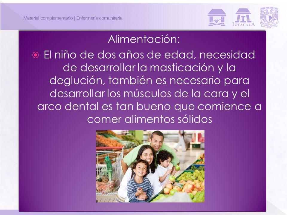 Alimentación: El niño de dos años de edad, necesidad de desarrollar la masticación y la deglución, también es necesario para desarrollar los músculos