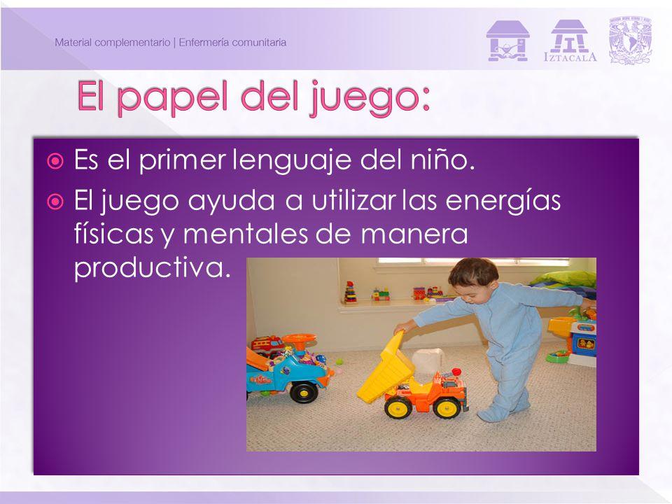 Es el primer lenguaje del niño. El juego ayuda a utilizar las energías físicas y mentales de manera productiva. Es el primer lenguaje del niño. El jue