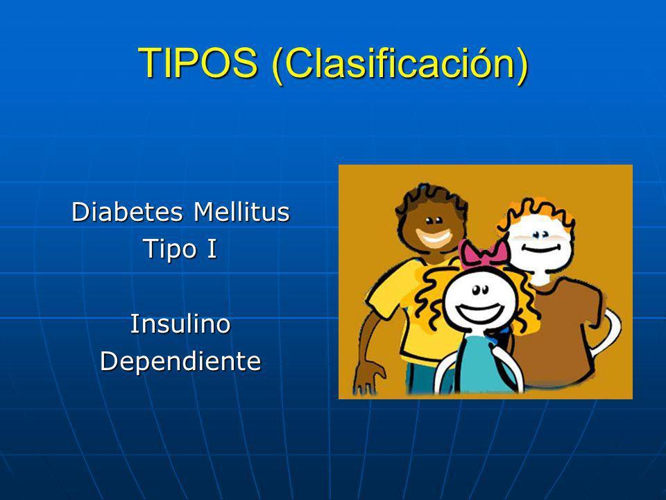 TIPOS (Clasificación) Diabetes Mellitus Tipo II No Insulino Dependiente