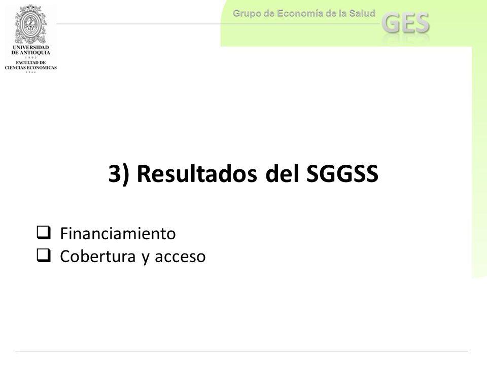 3) Resultados del SGGSS Financiamiento Cobertura y acceso