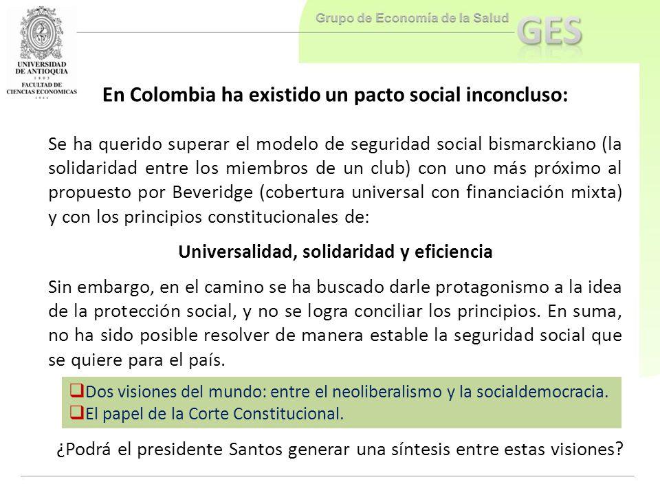 Dos visiones del mundo: entre el neoliberalismo y la socialdemocracia. El papel de la Corte Constitucional. En Colombia ha existido un pacto social in