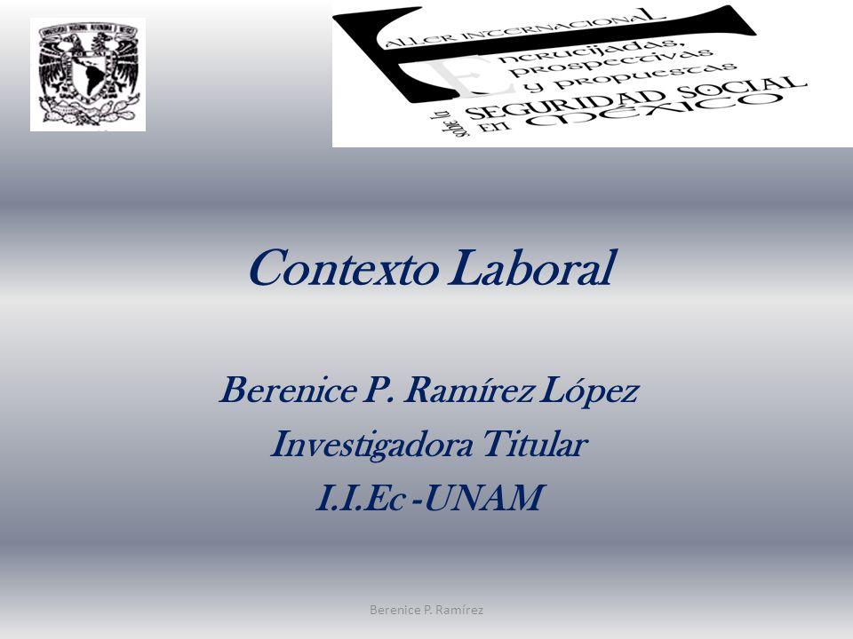 Contexto Laboral Berenice P. Ramírez López Investigadora Titular I.I.Ec -UNAM Berenice P. Ramírez