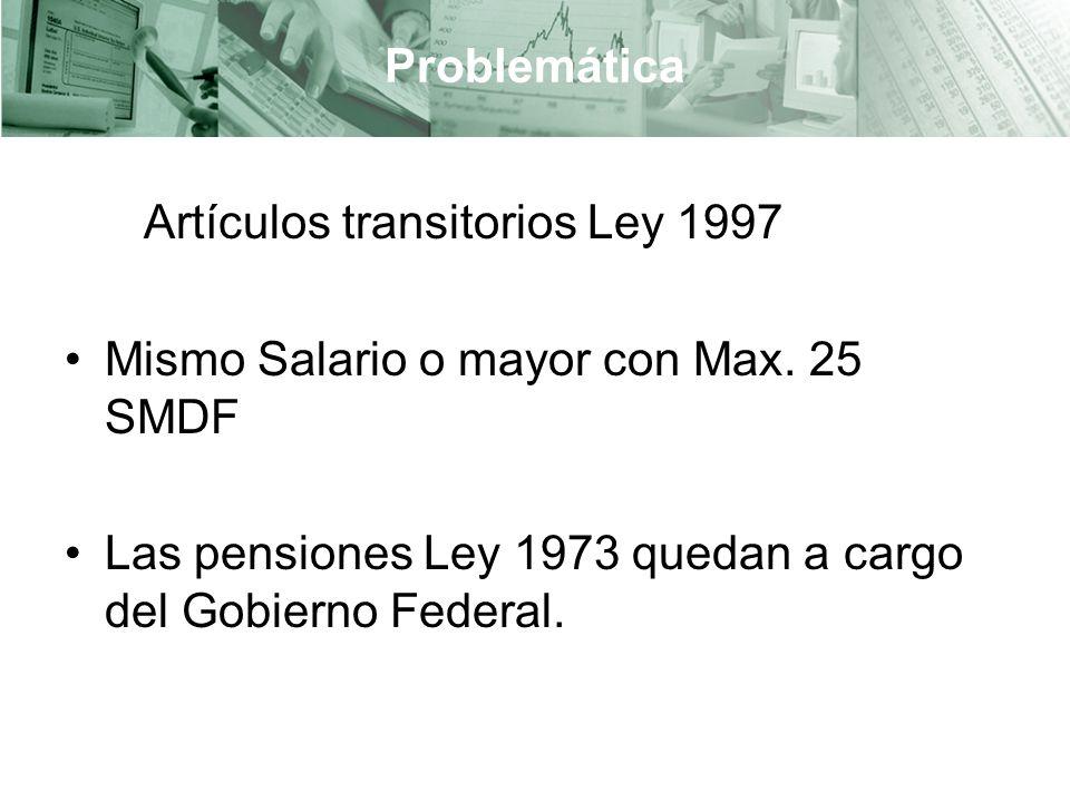 Problemática Artículos transitorios Ley 1997 Mismo Salario o mayor con Max.