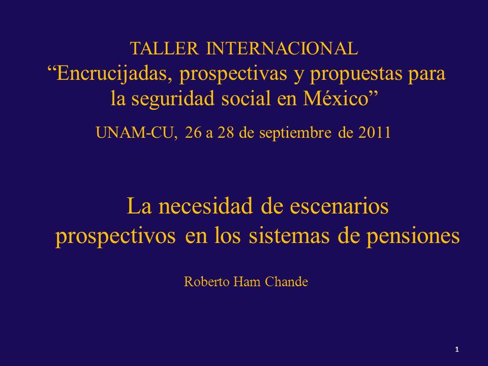 TALLER INTERNACIONAL Encrucijadas, prospectivas y propuestas para la seguridad social en México UNAM-CU, 26 a 28 de septiembre de 2011 La necesidad de escenarios prospectivos en los sistemas de pensiones Roberto Ham Chande 1