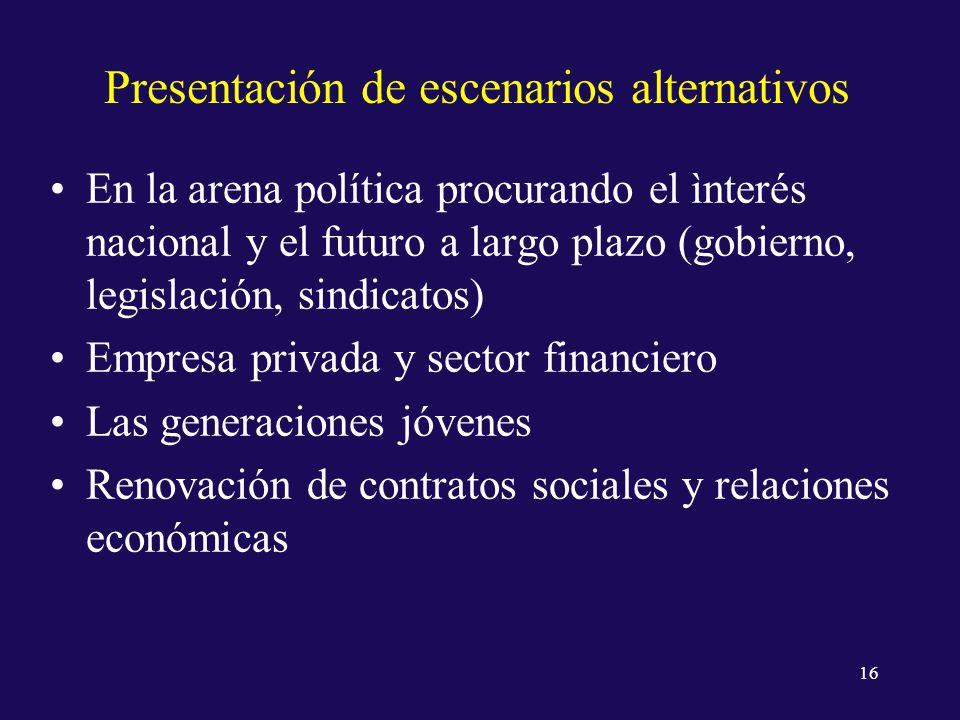 Presentación de escenarios alternativos En la arena política procurando el ìnterés nacional y el futuro a largo plazo (gobierno, legislación, sindicatos) Empresa privada y sector financiero Las generaciones jóvenes Renovación de contratos sociales y relaciones económicas 16