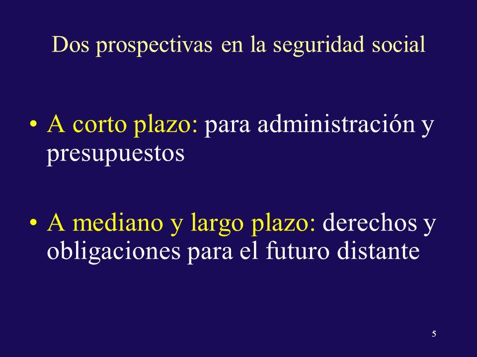 Dos prospectivas en la seguridad social A corto plazo: para administración y presupuestos A mediano y largo plazo: derechos y obligaciones para el futuro distante 5