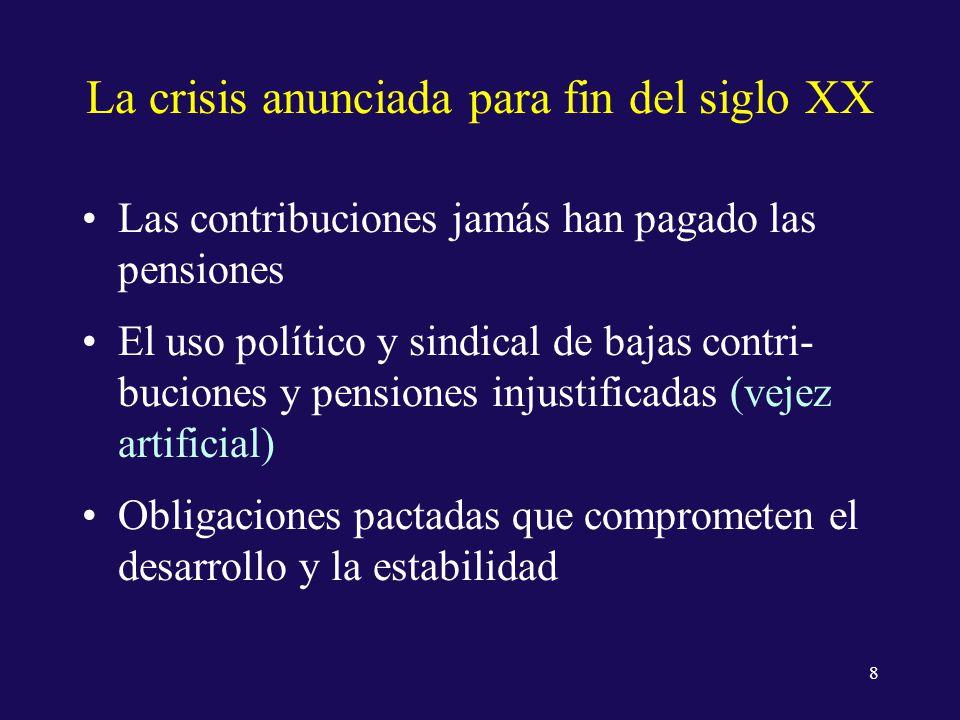 La crisis anunciada para fin del siglo XX Las contribuciones jamás han pagado las pensiones El uso político y sindical de bajas contri- buciones y pensiones injustificadas (vejez artificial) Obligaciones pactadas que comprometen el desarrollo y la estabilidad 8