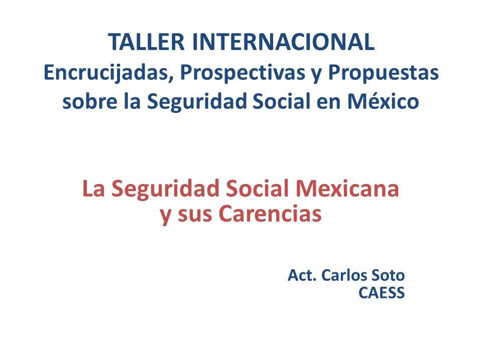 TALLER INTERNACIONAL Encrucijadas, Prospectivas y Propuestas sobre la Seguridad Social en México La Seguridad Social Mexicana y sus Carencias Act. Car