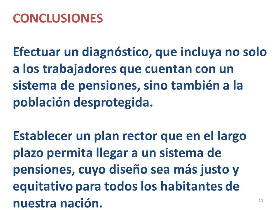 11 CONCLUSIONES Efectuar un diagnóstico, que incluya no solo a los trabajadores que cuentan con un sistema de pensiones, sino también a la población d