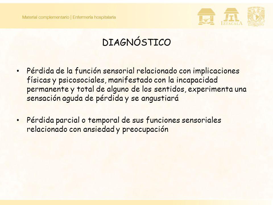 DIAGNÓSTICO Pérdida de la función sensorial relacionado con implicaciones físicas y psicosociales, manifestado con la incapacidad permanente y total d