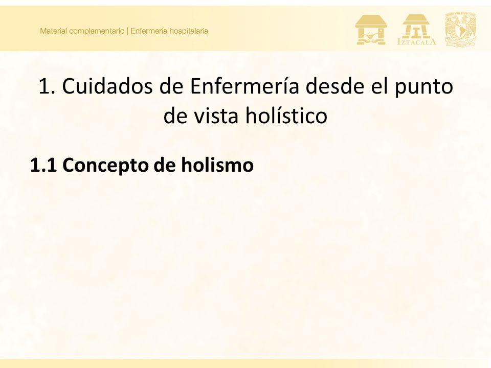 1. Cuidados de Enfermería desde el punto de vista holístico 1.1 Concepto de holismo