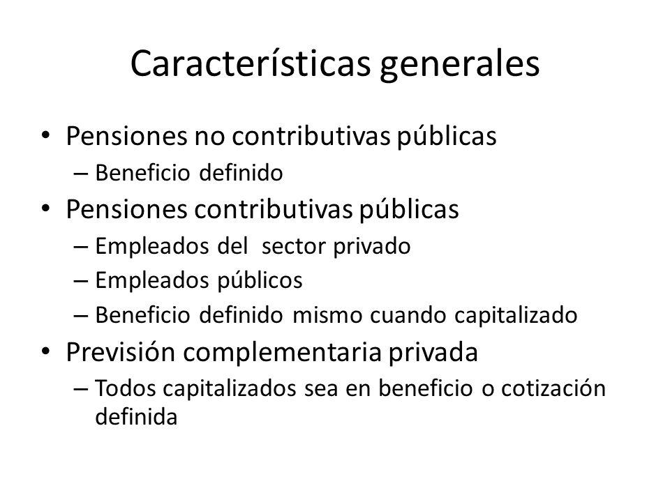 Características generales Pensiones no contributivas públicas – Beneficio definido Pensiones contributivas públicas – Empleados del sector privado – Empleados públicos – Beneficio definido mismo cuando capitalizado Previsión complementaria privada – Todos capitalizados sea en beneficio o cotización definida